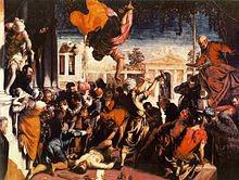 تابلوی معجزه برده اثر تینتورتو(۱۵۴۸). پسر یک استاد رنگرز، تینتورتو برای رسیدن به اثربخشی رنگ دراماتیک، از رنگدانه دریاچه قرمز کارمین، مشتق از حشره قرمزدانه مکزیکی، استفاده نموده است.